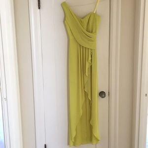 BCBG one-shoulder gown